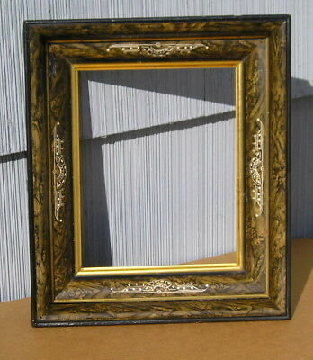 Antique Victorian Wide Eastlake Carved Green Marbled Aged Picture Frame 8 x 10