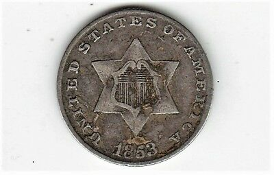 PRE CIVIL WAR DATE 1853 Silver 3c Three Cent Piece FRIDAY NIGHT BARGAIN BOX BUY!