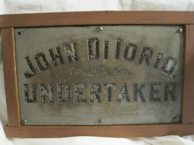 Antique VINTAGE UNDERTAKER Solid Brass Trade Sign DILORIO 19th Century