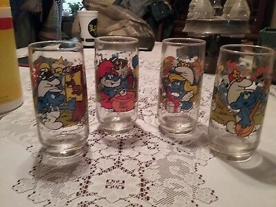 Set of 4 1982-1983 Collectible Smurf Glasses Papa, Handy, Harmony & Smurfette