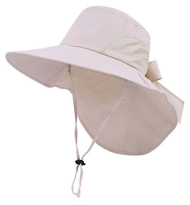 Womens Foldable Flap Cover UPF 50+ UV Protective Wide Brim Bucket Sun Hat