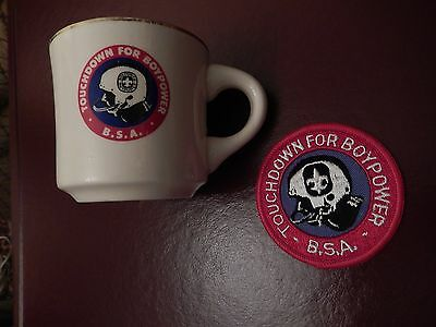 VINTAGE B.S.A. BOY SCOUT MUG & PATCH TOUCHDOWN FOR BOYPOWER - Made in USA