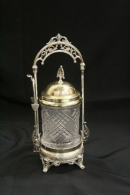 T Antique Simpson Hall Miller Pickle Caster with Tongs Silver Plate