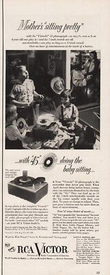 1951 RCA Victor Victrola 45 Personal Phonograph Mother Sitting Pretty Kids Ad