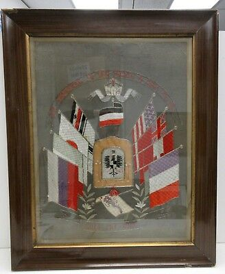 Unusual 1900 Silver And Silk Brocade Tapestry Of  Int'l Flags In German Framed.