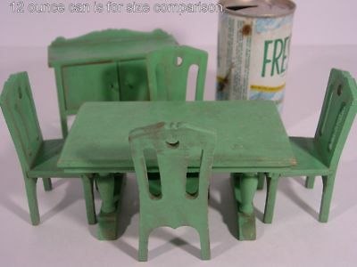 STROMBECKER! 6 pcs GREEN DINING ROOM SUITE Miniature Wood Dollhouse Furniture