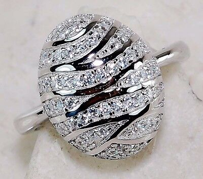2CT White Sapphire 925 Solid Genuine Sterling Silver Ring Jewelry Sz 8