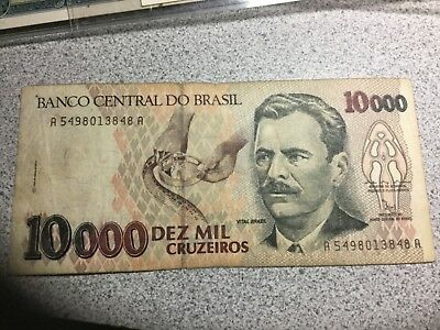 BRAZIL 1990 10000 Cruzeiros banknote circulated
