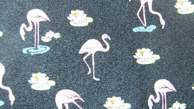 Museum Artifacts Black Pink Flamingo Flower Silk Necktie Tie Mfe0718B #b14