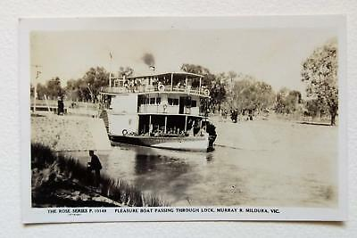 Vintage Postcard. Pleasure Boat Passing Through Lock, Murray R. Mildura Vic.