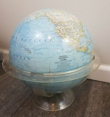 """Vintage 1965 National Geographic World Globe 18"""" Tall with Acrylic Base"""