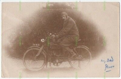 """Early Motorcycle Postcard """" Fn """" Vintage C.1905 Real Photo Dated 1924"""