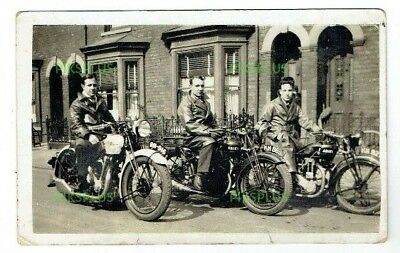 Old Motorcycle Postcard Young Men On Ariel Motorbikes Real Photo Vintage 1930S