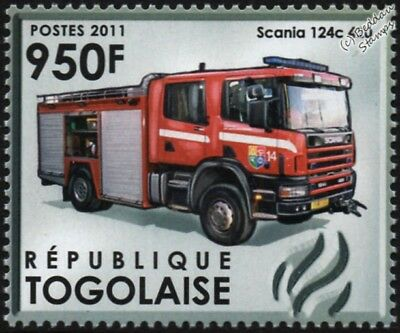 SCANIA 124C 420 Fire Engine Vehicle Stamp (Reykjavík Fire Department, Iceland)