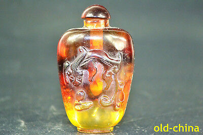 China Culture Collectible Antique amber carve dragon relief Snuff Bottle