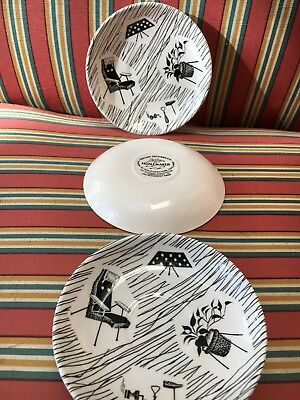 "Homemaker by Ridgeway  back & white  3 x coffee saucers 1950-1970 5""diameter vgc"