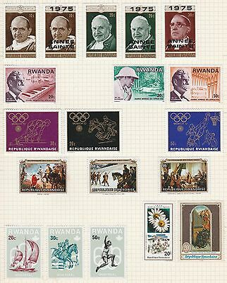 RWANDA COLLECTION  Saints, Olympics, Montreal, etc on Old Book Pages #