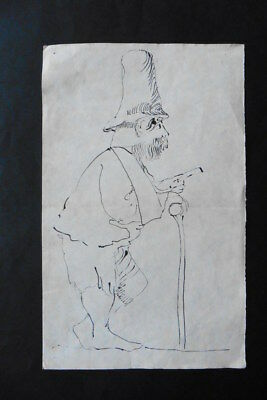 FRENCH SCHOOL 19thC - FIGURE STUDY - MAN WITH HAT - INK DRAWING