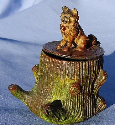 Antique Brussels Griffon Norwich Terrier Inkwell Heyde Dog Germany