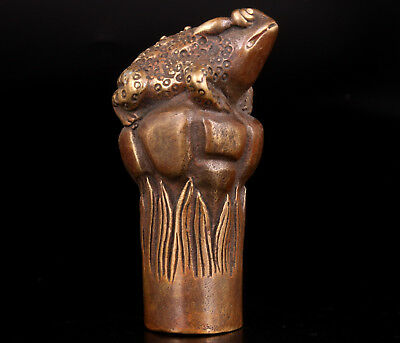 Bronze Casting Stick Cane Head Handle Parts Golden Toad Collectable