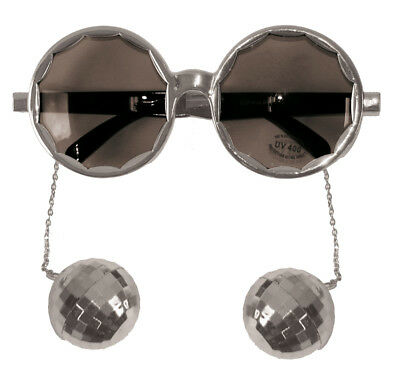 Silver Framed Party Glasses With 70S Disco Balls - Fun Fancy Dress