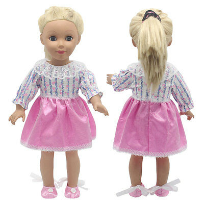 Pink Lace Doll Dress For 18 Inch Doll Toy Handmade Party Clothes.