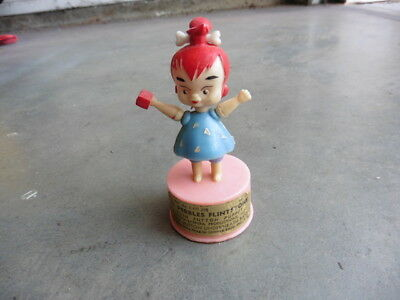 1960s Pebbles Flintstones Kohner Push Button Puppet Hand Painted Plastic Works