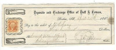 1861 Deposit & Exchange, Duff & Cowan, Bank Check W/revenue Stamp