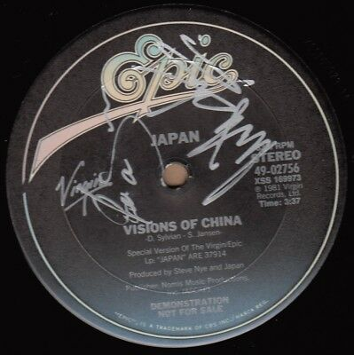 """JAPAN Visions Of China - US Promo 12"""" AUTOGRAPHED by Mick Karn and Steve Jansen"""