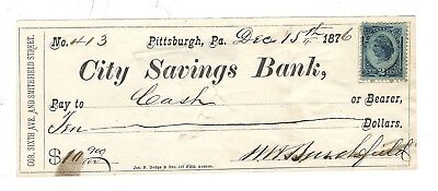 1876 City Savings Bank, Pittsburgh Pa, Bank Check W/revenue Stamp