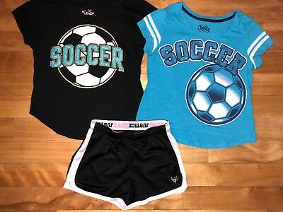 Justice Girls 10 Soccer 2 Tops Shirts Black Athletic Shorts Set Outfit 3 Pc Lot