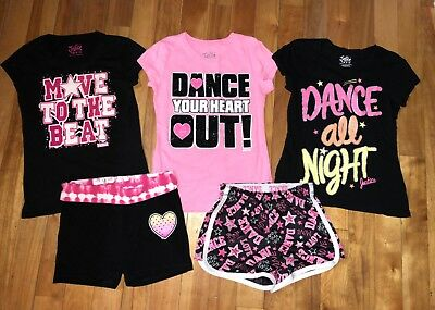 Justice Girl 10 Dance 3 Tops Shirts Black Yoga 2 Shorts Set Outfit 5Pc Lot Bling