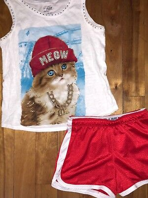 Justice Girls 10-12 Meow Bling Cat Tank Top Shirt Red Athletic Shorts Set Outfit