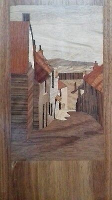Trewarveneth St., Newlyn, vintage Marquetry Picture.  E D Hainsworth.