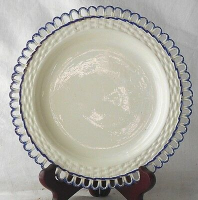 C18Th Creamware Plate With A Basket Weave Border
