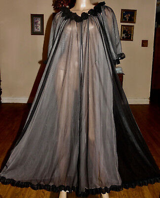 Vintage Jenelle Long Double Chiffon & Lace Peignoir Robe, Lg-Xl-Bust 54
