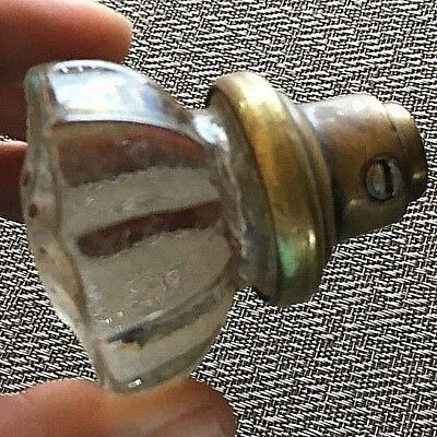 Antique 12 Pt Twelve Point Glass Brass Door knob only