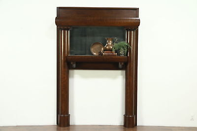 Oak Antique Architectural Salvage Fireplace Mantel & Mirror, 1909 Signed Chicago