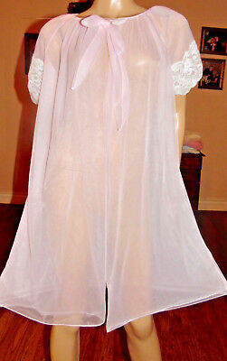 Vintage Avian Double Layer Chiffon & Lace Peignoir Robe, Med-Bust 46