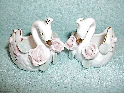 Pair of Ceramic Decorative Collectible Swan Figurines - Japan