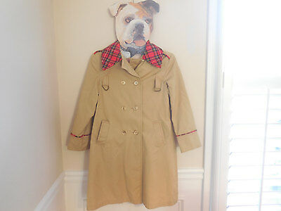 Vintage boy 7/8 9/10 Mid century LONG Tan Red Flannel Plaid Trench Dress coat