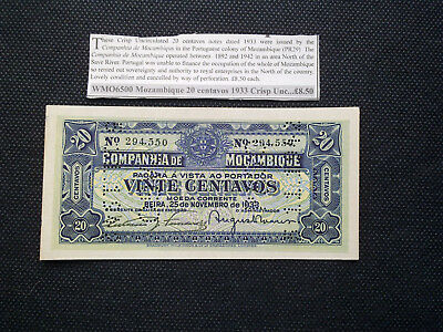 20 CENTAVOS  CANCELLED BANKNOTE FROM PORTUGUESE MOZAMBIQUE 1933 uncirculated