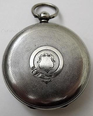 Solid Silver Open Face Case Fusee Fob Pocket Watch - 1859 W Powell Ludlow