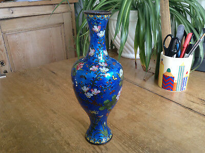 Chinese japanese Cloisonne Vase Floral Butterfly Metalic Blue Ground