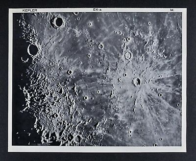 1960 Lunar Atlas Moon Map Photo Kepler E4-a Surface Craters McDonald Observatory