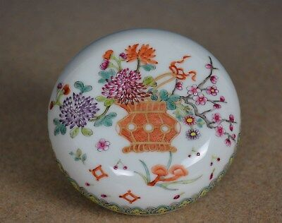 Exquisite Antique Chinese Porcelain Box Famille Rose Daoguang Mark Rare V8167