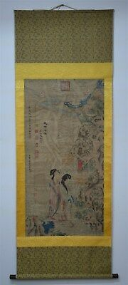 Fine Large Chinese Painting Scroll Signed Master Zhou Fang No Reserve D0919