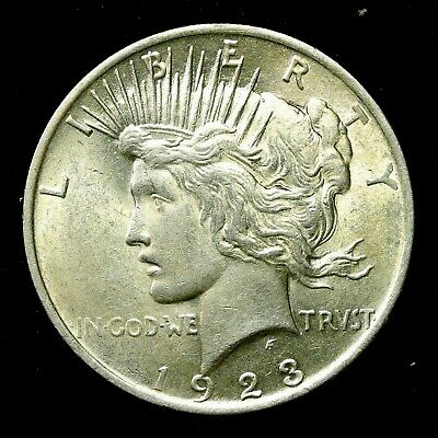 1923 P ~**ABOUT UNCIRCULATED AU**~ Silver Peace Dollar US Old Rare Coin! #80F