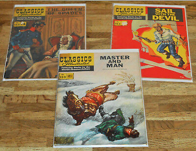 3x Very rare UK ONLY vintage CLASSICS ILLUSTRATED no.143 157 159 1st Editions