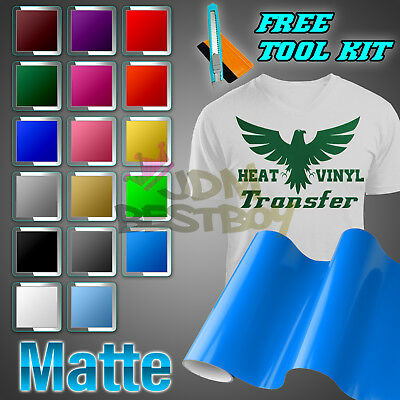 "Matte Heat Transfer Vinyl HTV Sheets T-Shirt 20"" Wide Roll Iron On / Heat Press"
